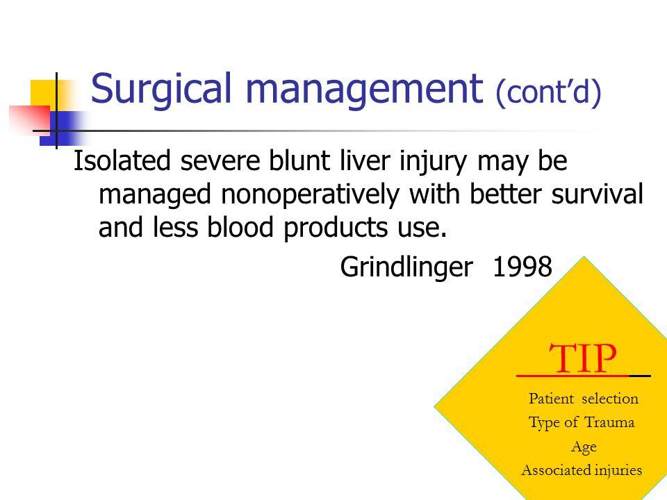 Surgical management (cont'd)