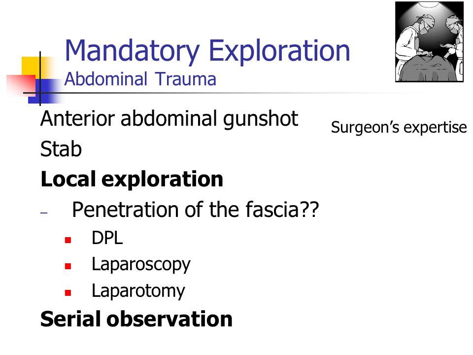 Mandatory Exploration Abdominal Trauma