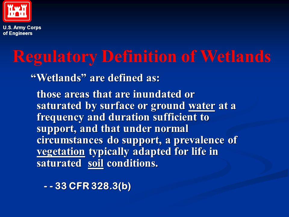 Regulatory Definition of Wetlands