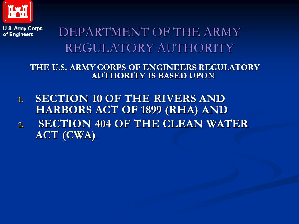 DEPARTMENT OF THE ARMY REGULATORY AUTHORITY