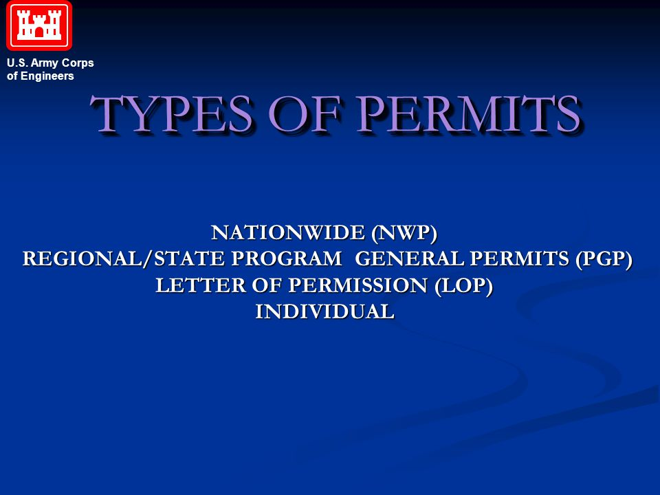 TYPES OF PERMITS NATIONWIDE (NWP)
