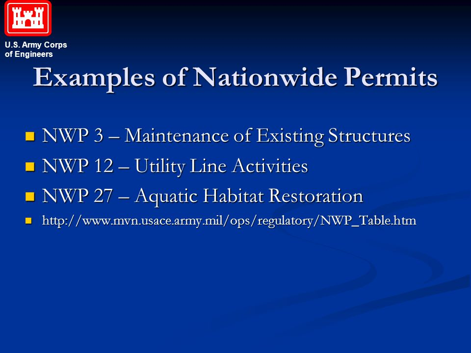 Examples of Nationwide Permits