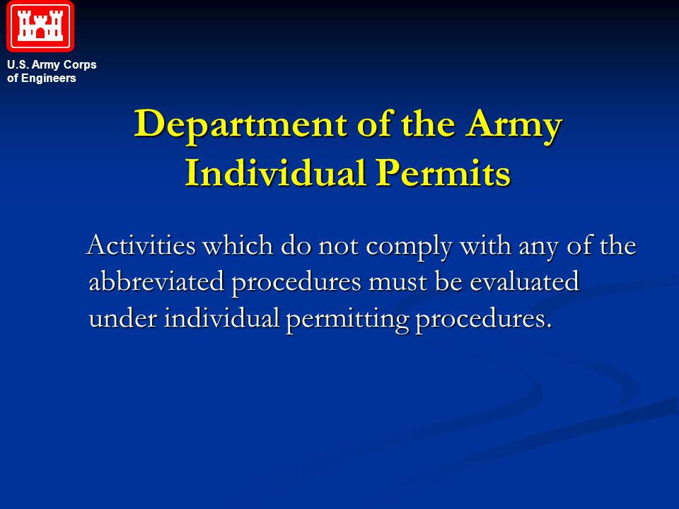 Department of the Army Individual Permits