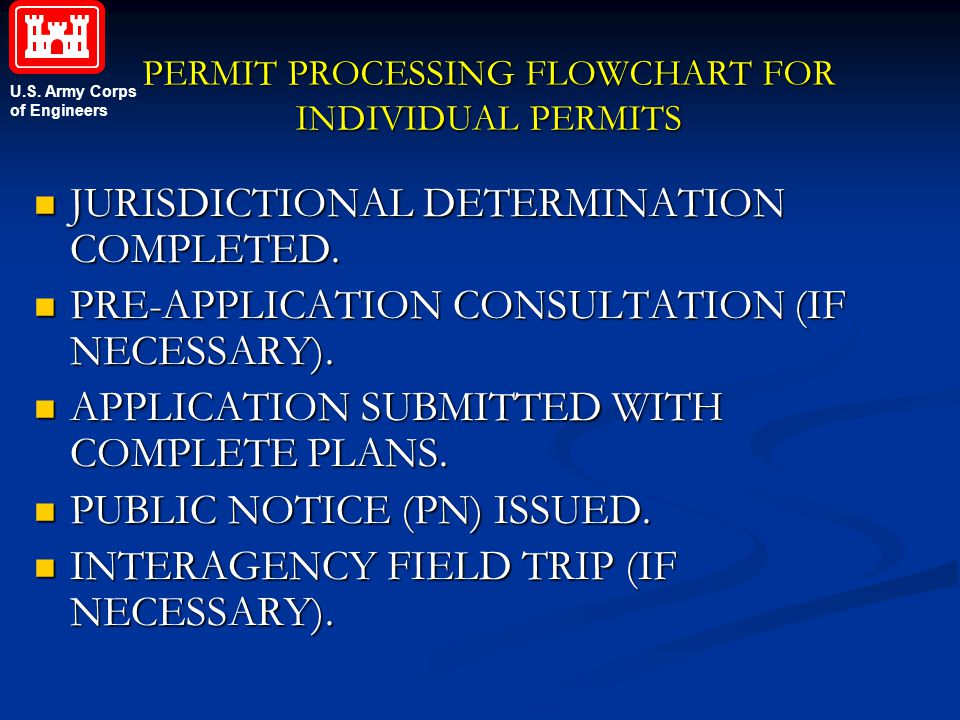 PERMIT PROCESSING FLOWCHART FOR INDIVIDUAL PERMITS