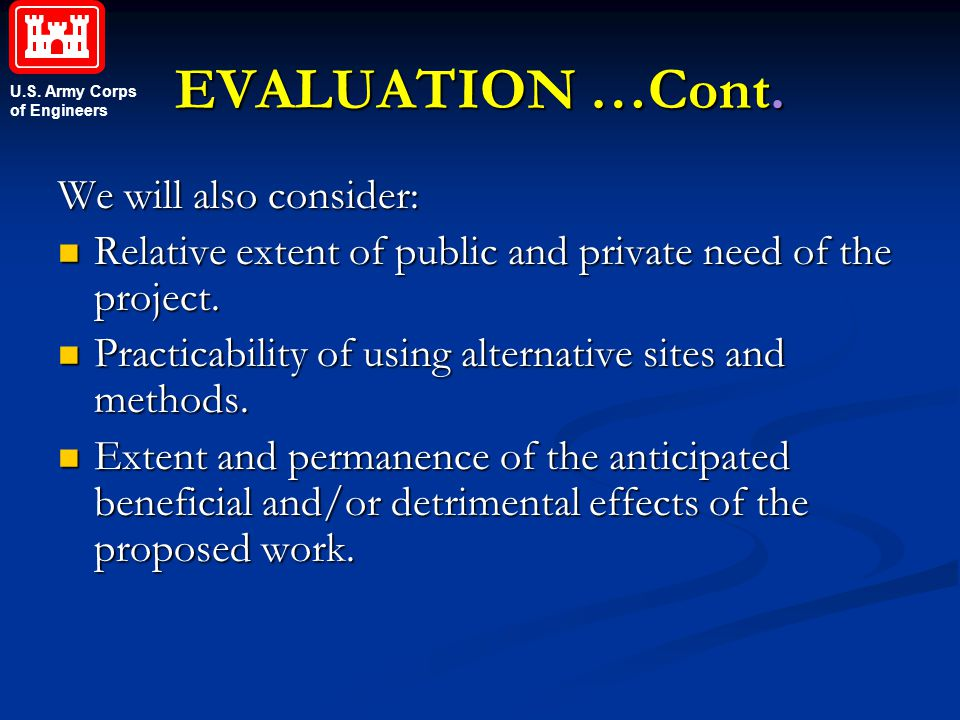 EVALUATION …Cont. We will also consider:
