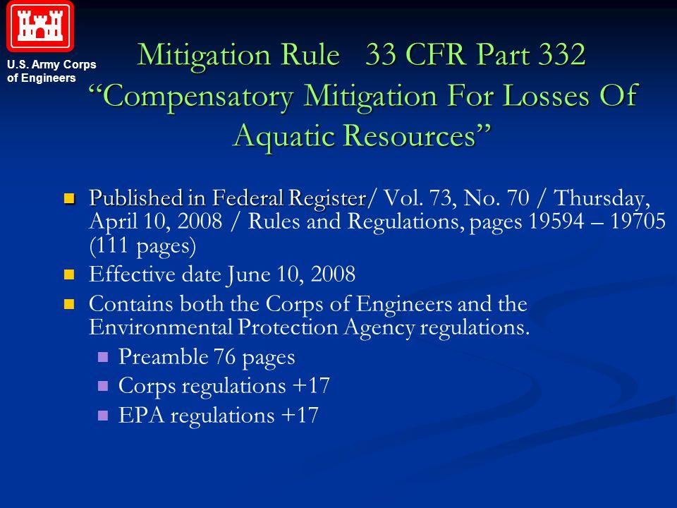 Mitigation Rule 33 CFR Part 332 Compensatory Mitigation For Losses Of Aquatic Resources