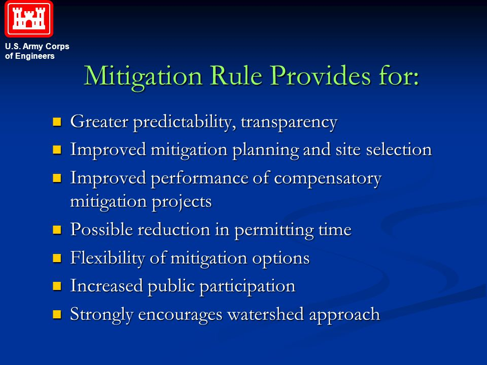 Mitigation Rule Provides for: