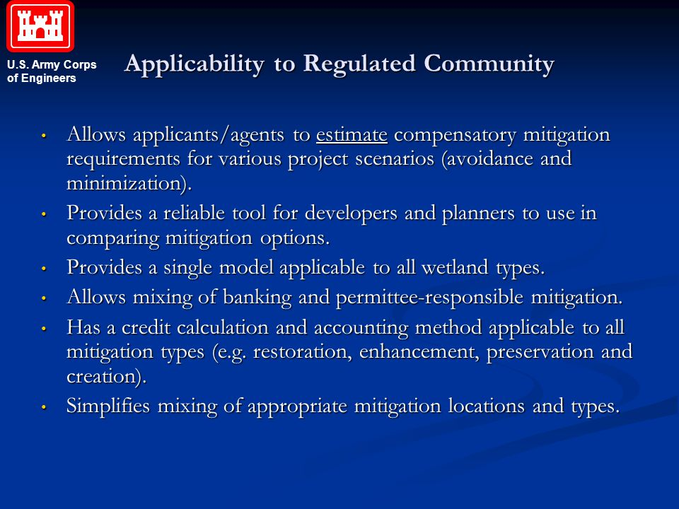 Applicability to Regulated Community