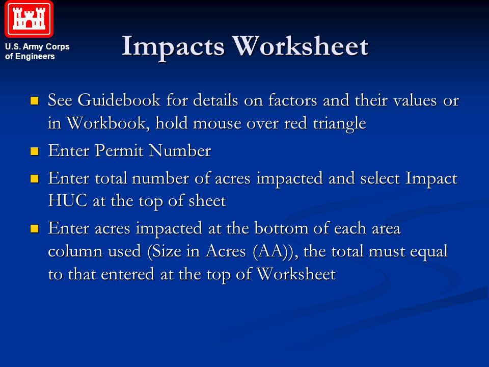 Impacts Worksheet See Guidebook for details on factors and their values or in Workbook, hold mouse over red triangle.