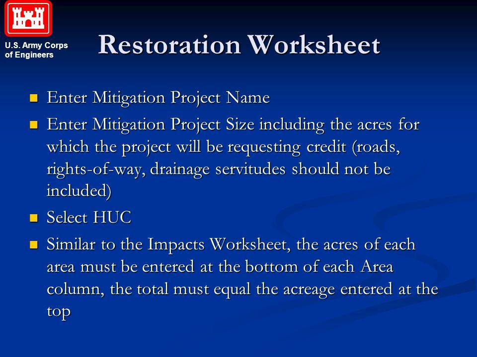 Restoration Worksheet