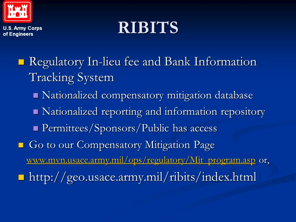 www.mvn.usace.army.mil/ops/regulatory/Mit_program.asp or,