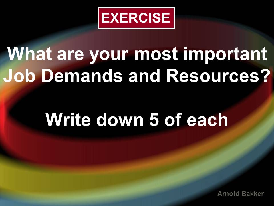 EXERCISE What are your most important Job Demands and Resources Write down 5 of each 14