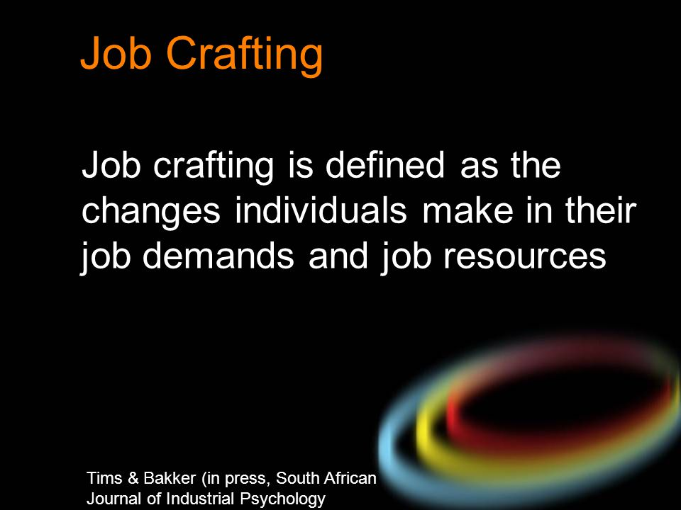 Job Crafting Job crafting is defined as the changes individuals make in their job demands and job resources.