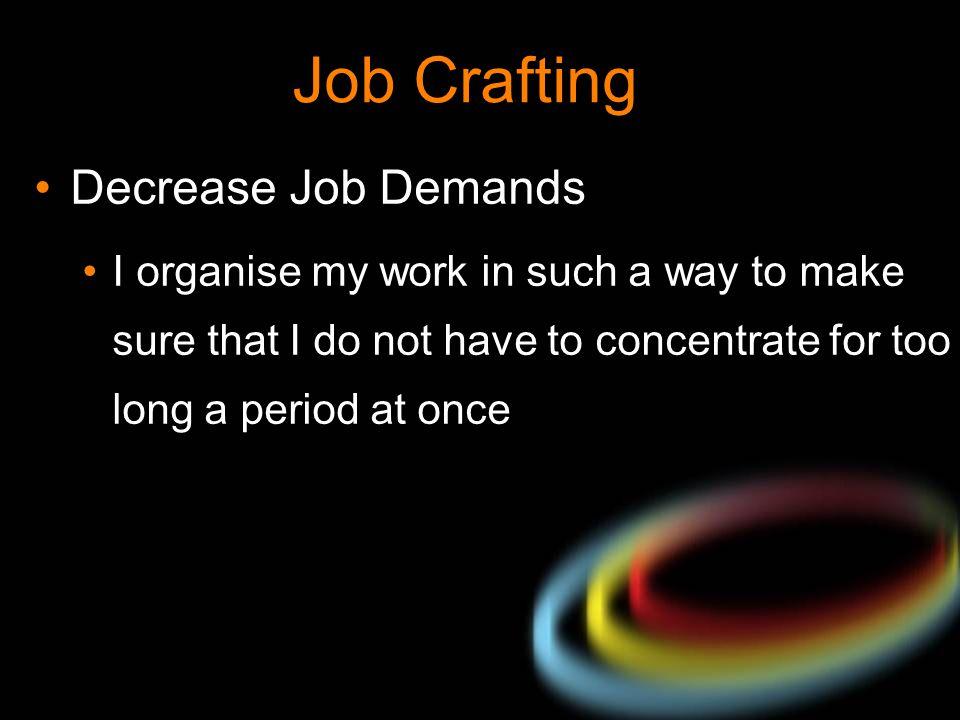 Job Crafting Decrease Job Demands