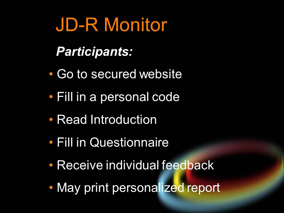 JD-R Monitor Participants: Go to secured website