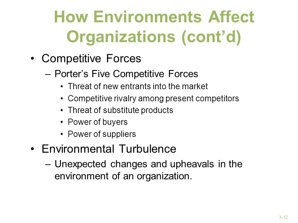 How Environments Affect Organizations (cont'd)