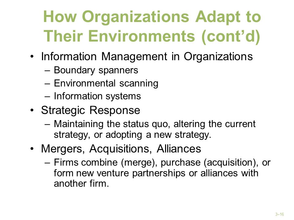 How Organizations Adapt to Their Environments (cont'd)