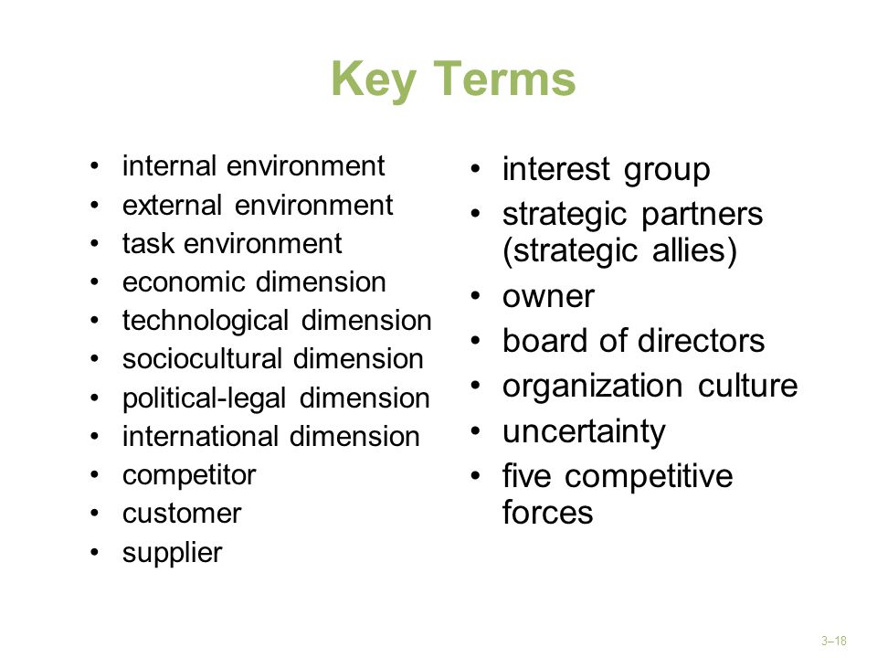 Key Terms interest group strategic partners (strategic allies) owner
