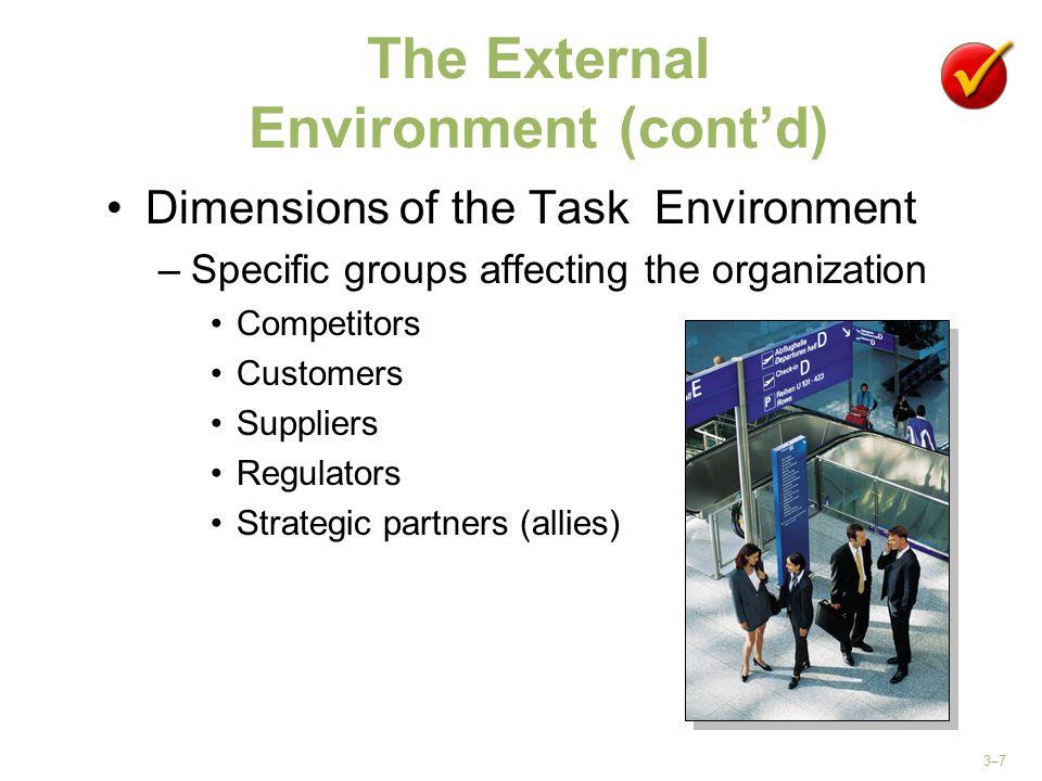 The External Environment (cont'd)