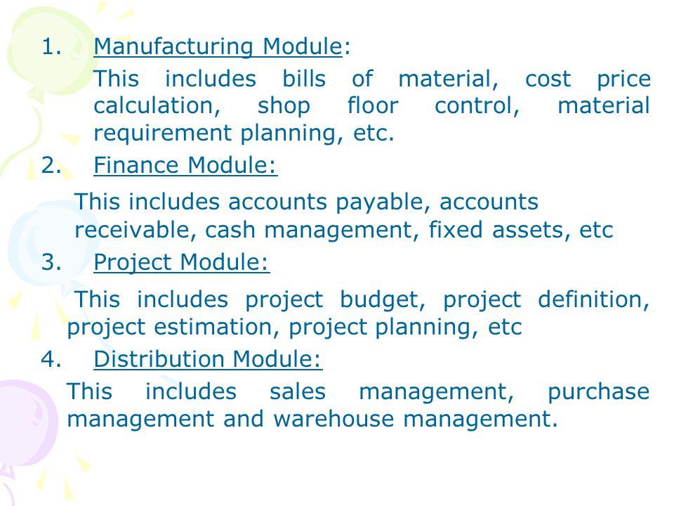 Manufacturing Module: