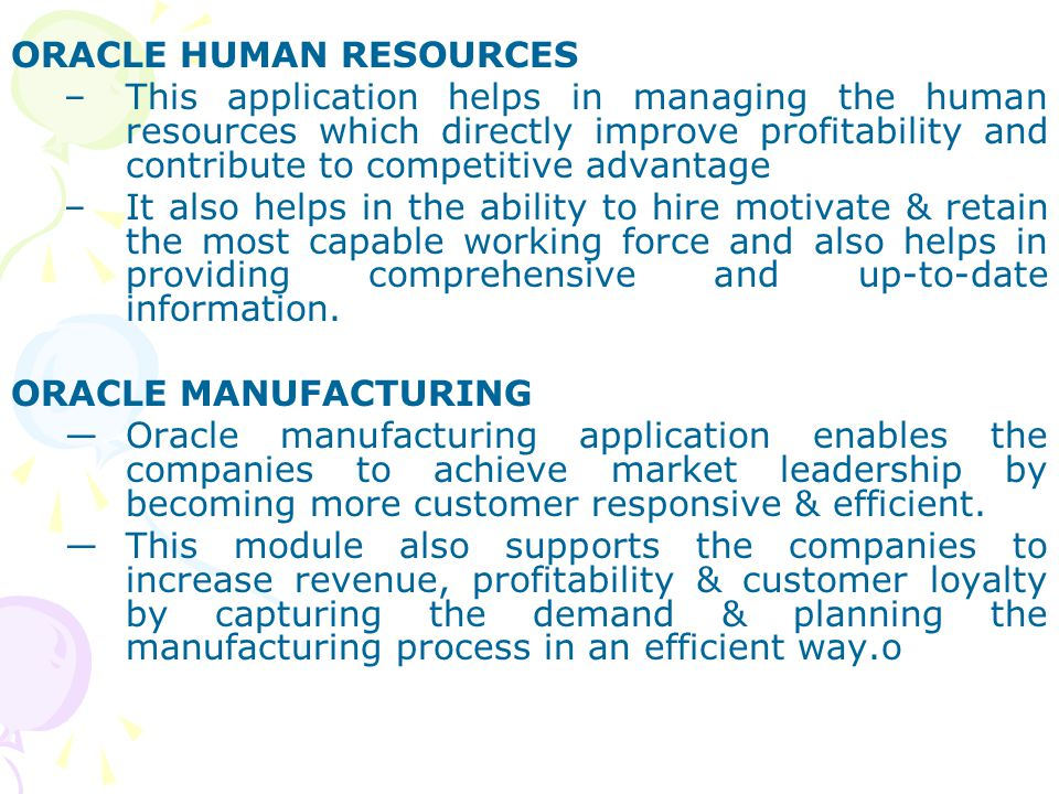 ORACLE HUMAN RESOURCES