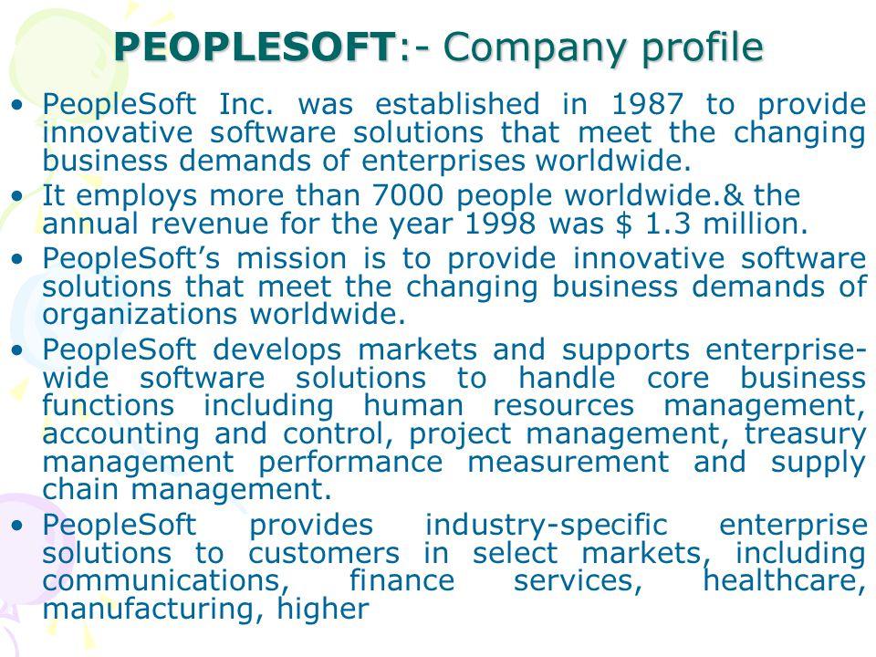 PEOPLESOFT:- Company profile