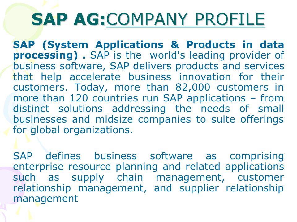 SAP AG:COMPANY PROFILE