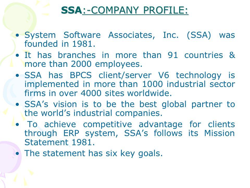 SSA:-COMPANY PROFILE: