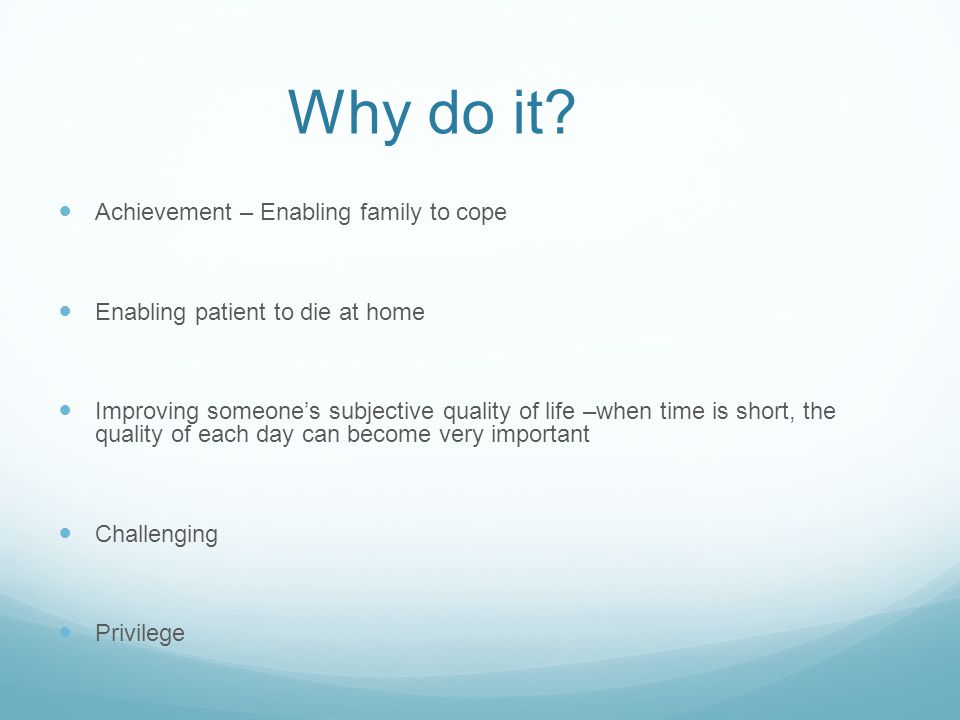 Why do it Achievement – Enabling family to cope