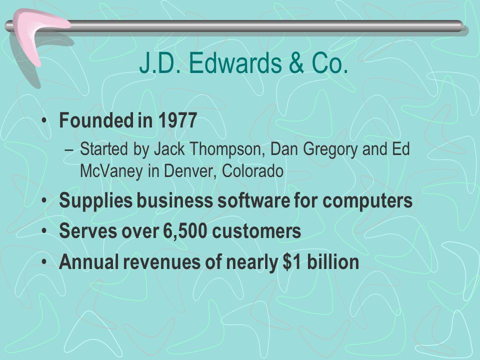 J.D. Edwards & Co. Founded in 1977