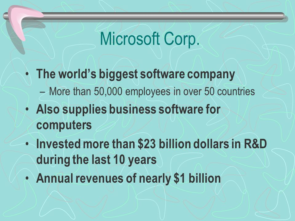 Microsoft Corp. The world's biggest software company