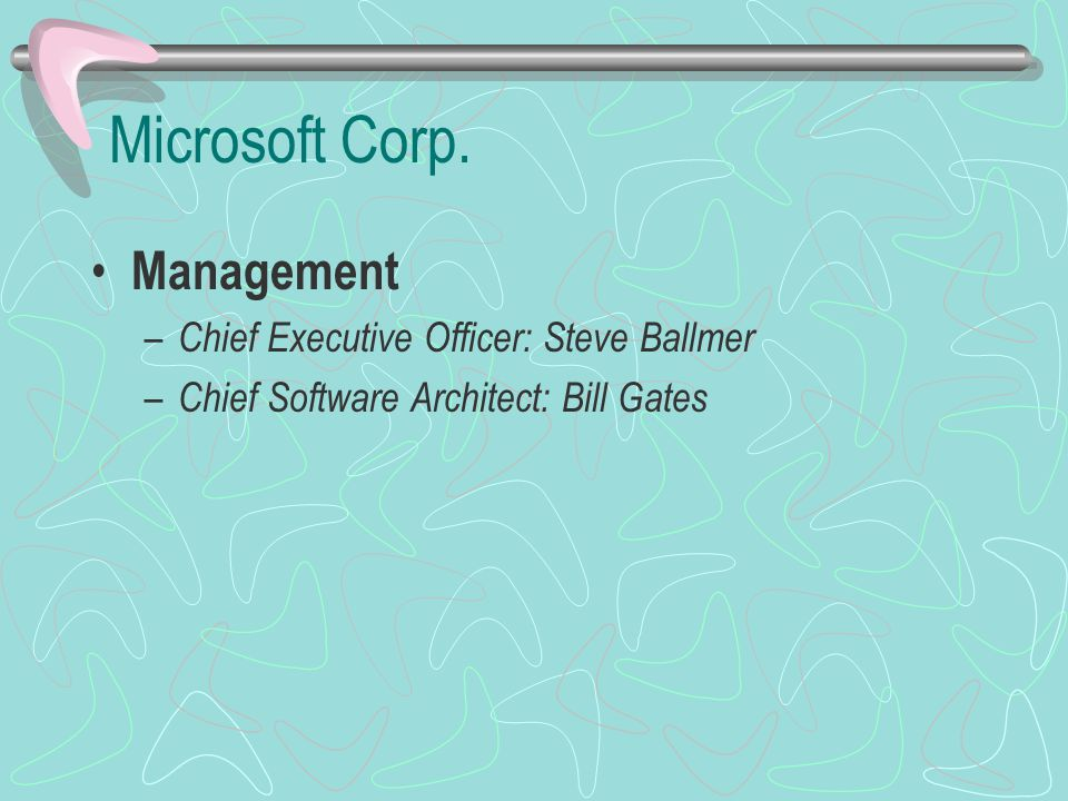 Microsoft Corp. Management Chief Executive Officer: Steve Ballmer