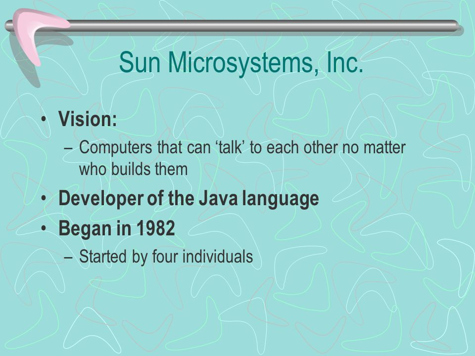 Sun Microsystems, Inc. Vision: Developer of the Java language