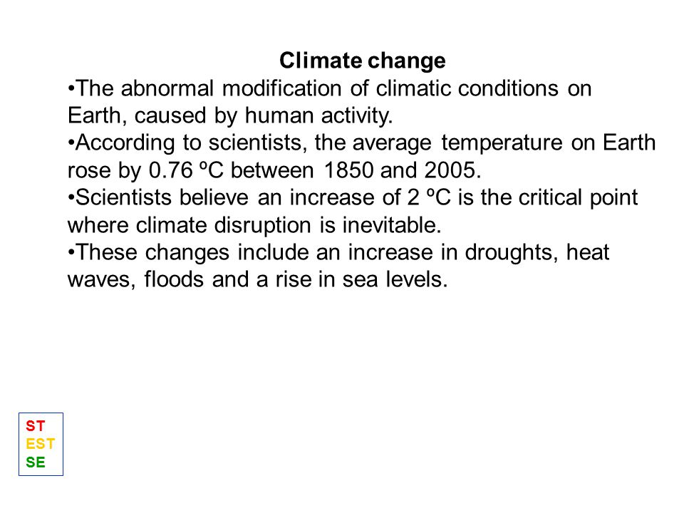 Climate change The abnormal modification of climatic conditions on Earth, caused by human activity.