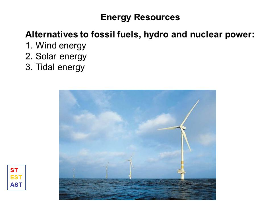 Alternatives to fossil fuels, hydro and nuclear power: Wind energy