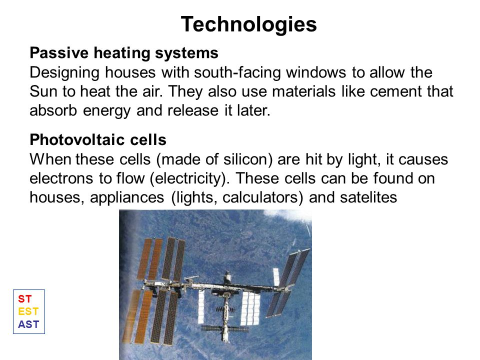 Technologies Passive heating systems