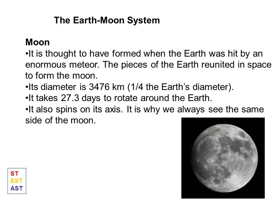 Its diameter is 3476 km (1/4 the Earth's diameter).