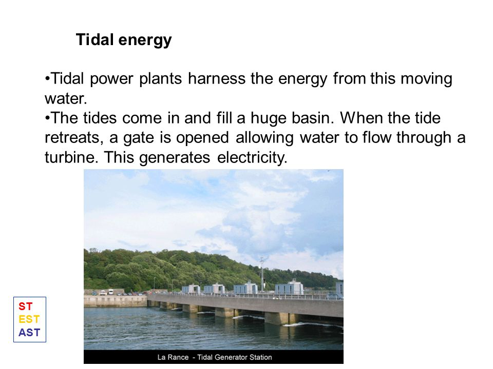 Tidal power plants harness the energy from this moving water.