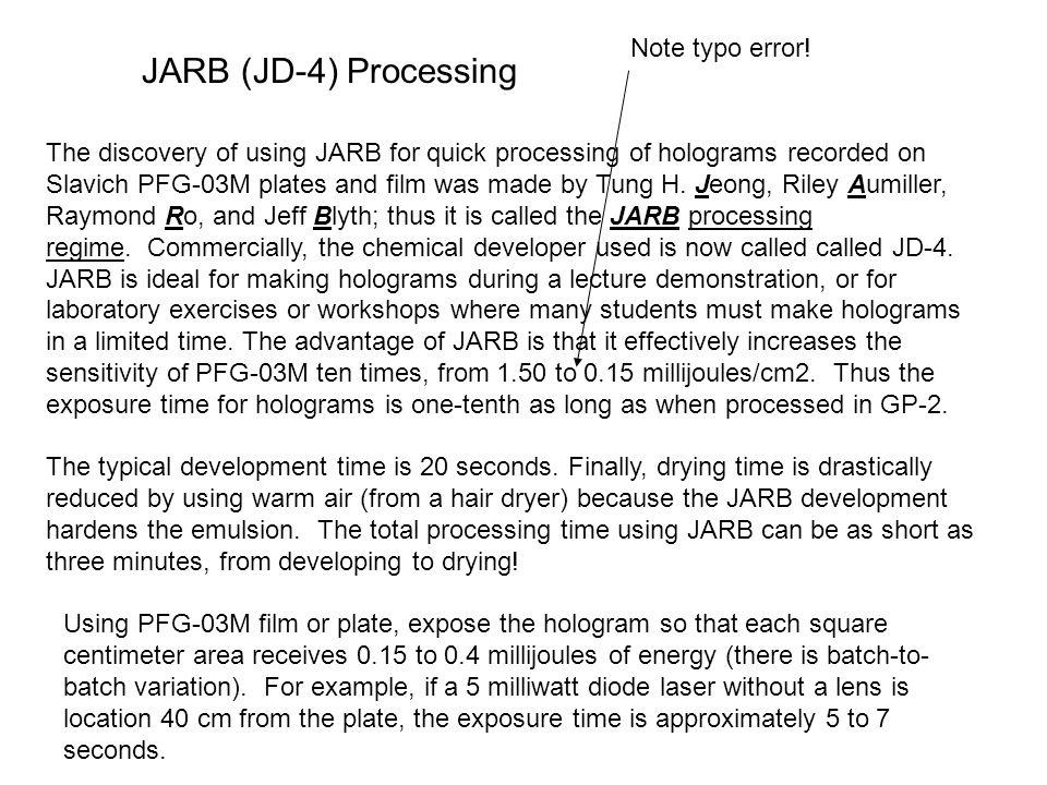 JARB (JD-4) Processing Note typo error!
