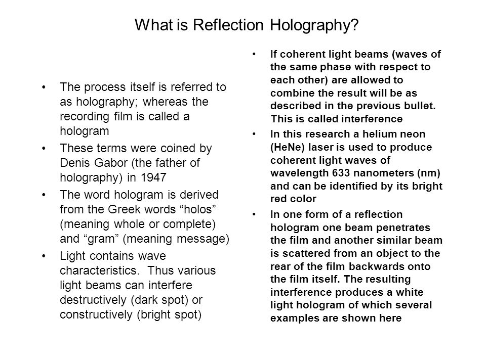 What is Reflection Holography