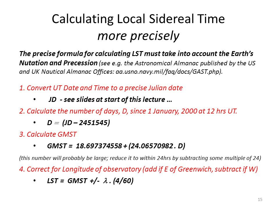 Calculating Local Sidereal Time more precisely