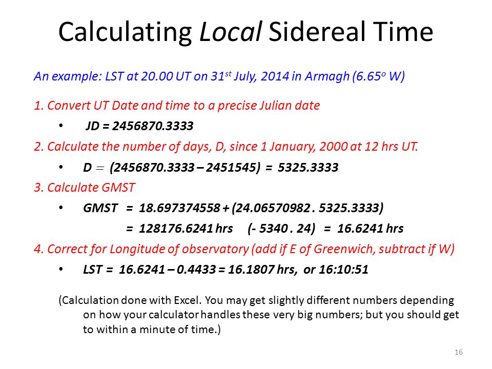 Calculating Local Sidereal Time