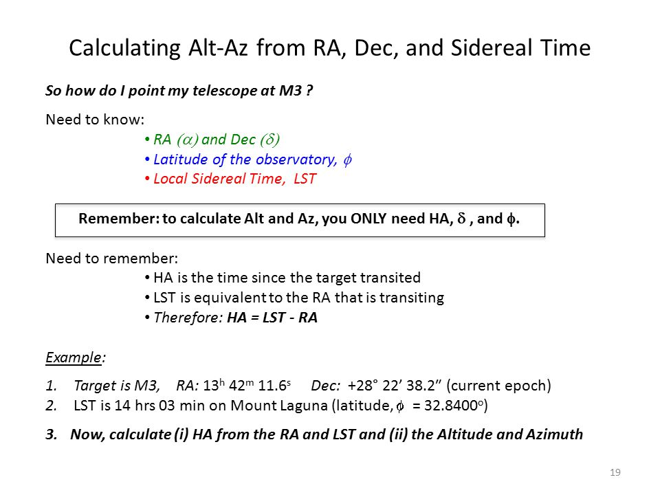 Calculating Alt-Az from RA, Dec, and Sidereal Time