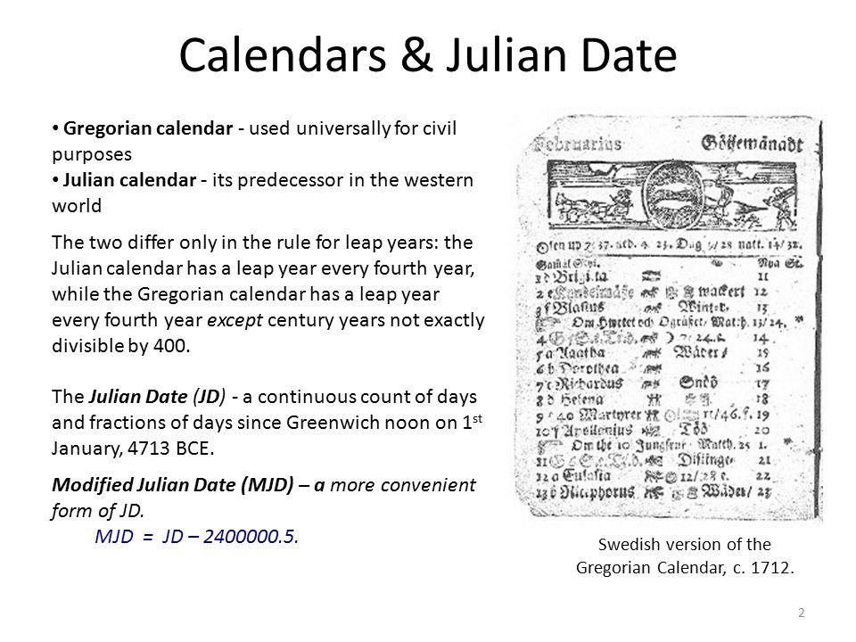 Calendars & Julian Date