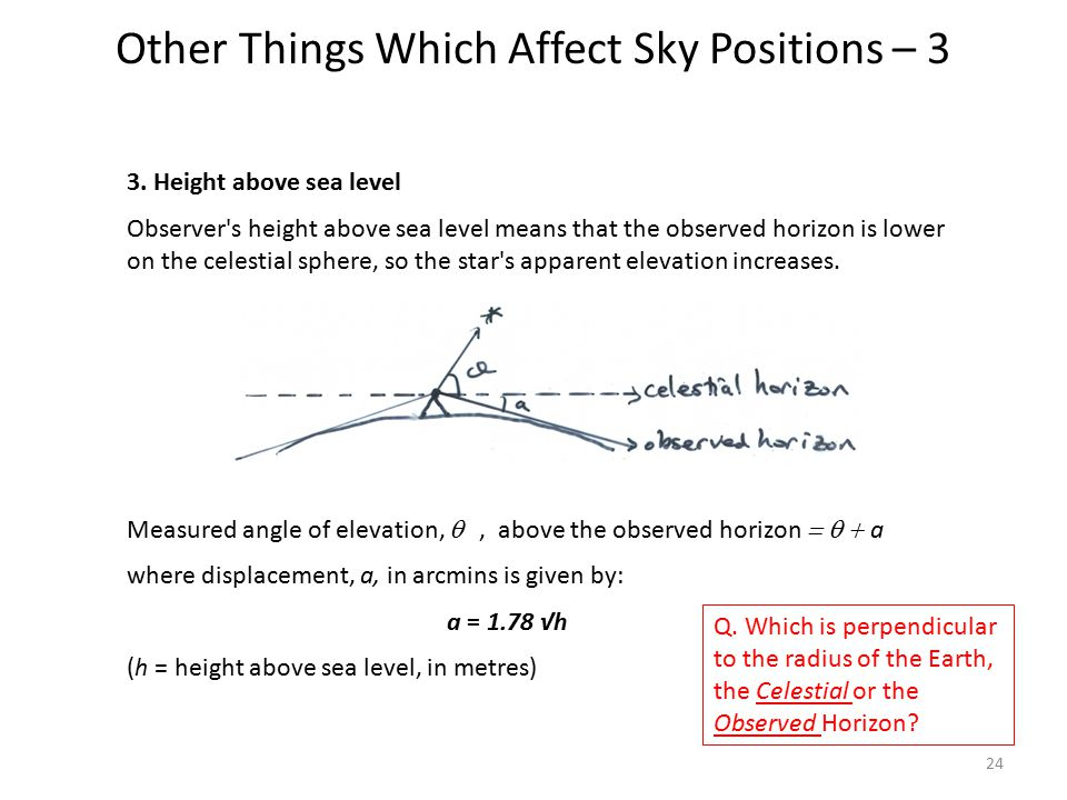 Other Things Which Affect Sky Positions – 3