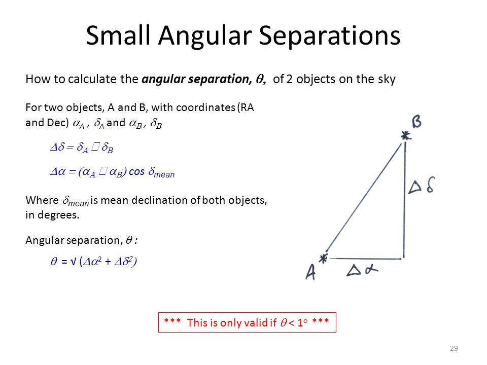 Small Angular Separations