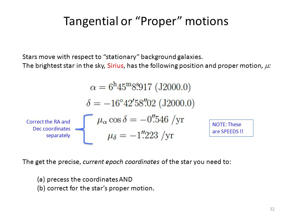Tangential or Proper motions