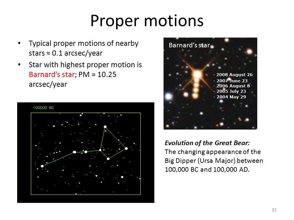 Proper motions Typical proper motions of nearby stars ≈ 0.1 arcsec/year. Star with highest proper motion is Barnard's star; PM = 10.25 arcsec/year.