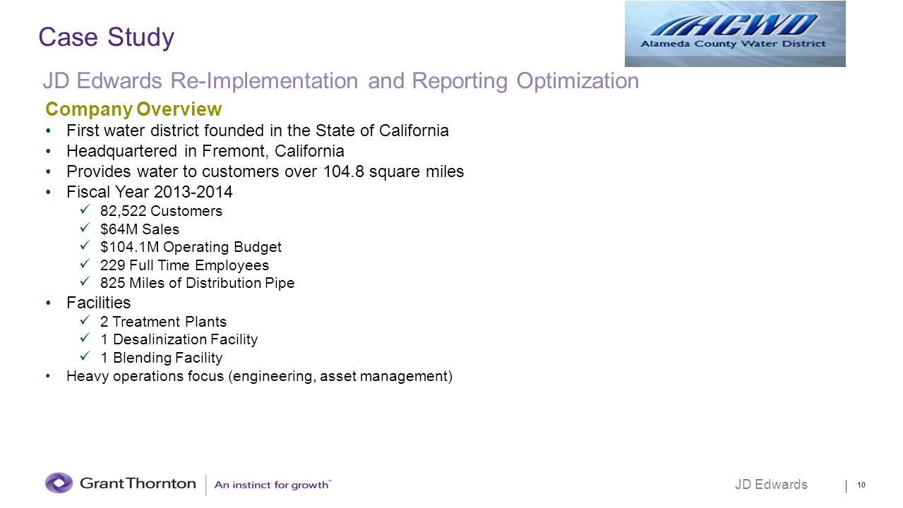 Case Study JD Edwards Re-Implementation and Reporting Optimization