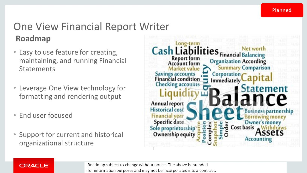 One View Financial Report Writer